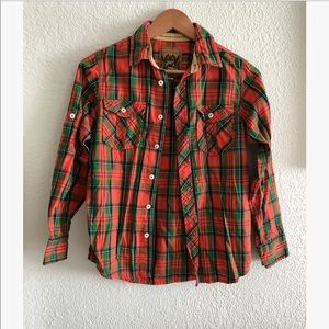 Red Camel boys plaid button down sz: Med